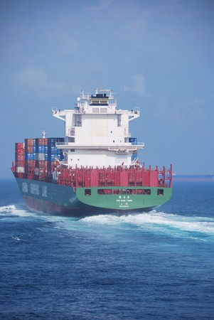 pilotage: Hong Kong, May, 21, 2010 - Container vessel entering Hong Kong waters. Editorial