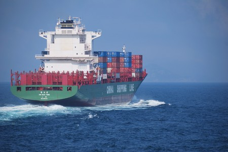 Hong Kong, May, 21, 2010 - Container vessel entering Hong Kong waters. Stock Photo - 7278165