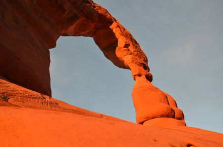 moab: Sunset at Delicate Arch, Arches National Park in Moab, Utah, US Stock Photo