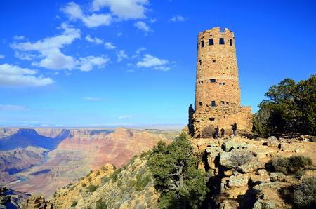 south rim: Desert view watchtower in Grand Canyon South Rim, Arizona, US