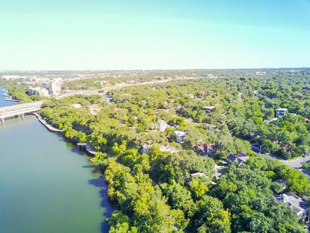 Aerial view riverside residential neighborhood near Colorado Riv 免版税图像