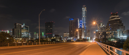 Panoramic Austin modern skylines and state capitol building at n