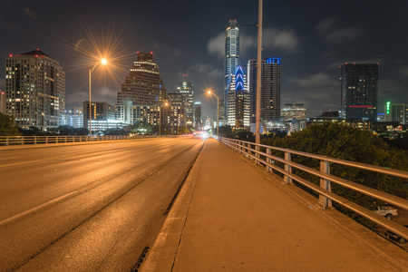 Austin modern skylines and state capitol building at night
