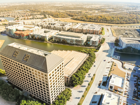 Top view waterfront downtown Las Colinas, upscale community near