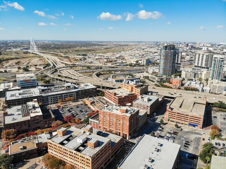 Top view building and highway system of Uptown Dallas with Marga