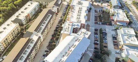 Panoramic top view new large condominium building in uptown Dallas
