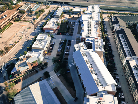 Top view new large condominium building in uptown Dallas