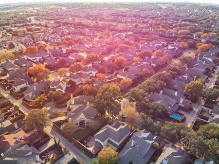 Panoramic top view urban sprawl suburbs Dallas during autumn season Stock Photo