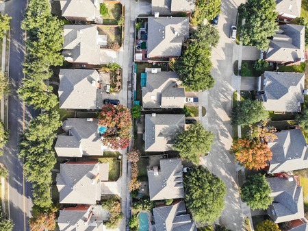Panoramic top view urban sprawl suburbs Dallas during autumn season Imagens