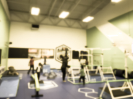 Blurry background children gym class in USA