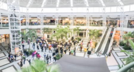 Panorama view blurred abstract public music show at shopping mall in Texas, America. Crowed audience watching free performance under the glass dorm Stock fotó