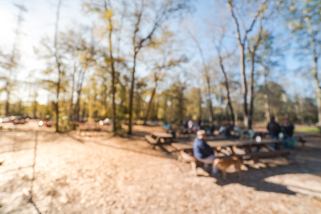 Blurry background  forest campfire and people hangout at wintertime in Texas, USA Stock Photo