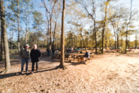 Blurry background forest campfire and people hangout at wintertime in Texas, USA