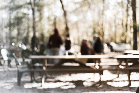 Filtered image blurry  forest campfire and people hangout at wintertime in Texas, USA Stock Photo - 123152467