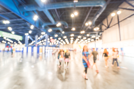 Blurry background runners at marathon event to pickup running package