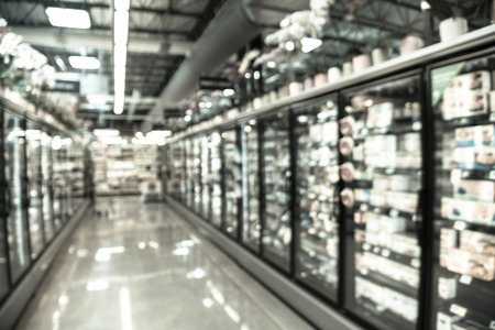 Filtered image blurry background frozen and processed food selection at American grocery store Stock Photo - 123251882
