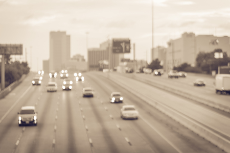 Blurry background Houston downtown and traffic on Highway 69 at rush hour Stock Photo
