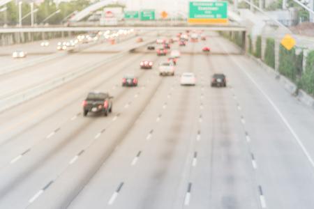 Blurry background motion traffic on Interstate Highway 69 Houston, Texas