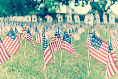Filtered image lawn American flags with blurry row of people carry fallen soldiers banners parade Archivio Fotografico
