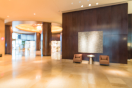Blurry background modern lobby interior at American hotel Stock Photo