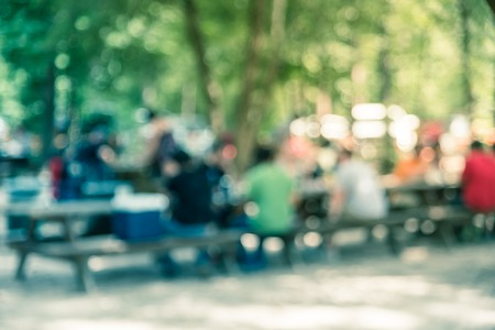 Blur image group of people hanging out at semi forest, wooded area of craft brewery in Conroe, Texas, US. Beer garden fill with picnic tables, long benches setup under tall oak trees. Park activities. Stock Photo - 124391873