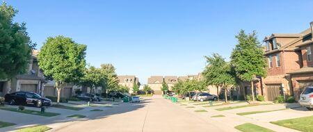 Panoramic view new established neighborhood houess in suburban Dallas, Texas