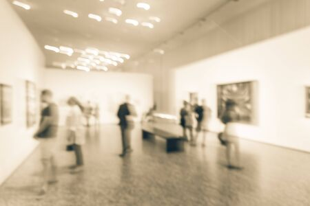 Filtered image blurry background fine art exhibition at museum in Texas, America