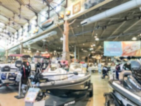 Blurry background large boat showroom outdoor store in America