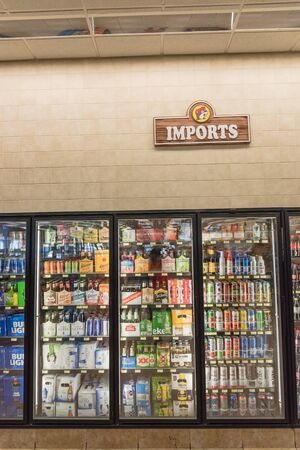 Wide selection of sugar, energy and alcohol drinks at American convenience store