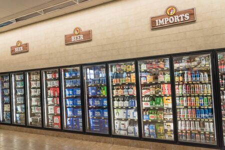 Imported beer on display at American convenience gas station store