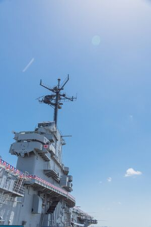 Typical view top of American aircraft carrier in Texas Banque d'images