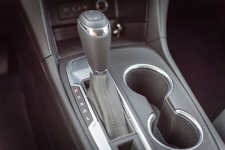 Automatic transmission in P mode inside modern car Imagens