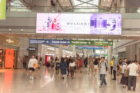 INCHEON, SOUTH KOREA-JULY 16, 2019: Inside Incheon International Airport, largest airport in South Korea, primary airport serving the Seoul Capital Area, one of largest, busiest airports in the world