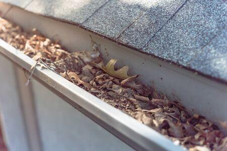 Canalón de primer plano de la vista superior de la casa residencial llena de hojas secas y sucia necesidad de limpieza. Concepto de limpieza de canalones y mantenimiento del hogar.