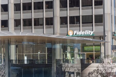 CHICAGO, US-OCT 16, 2018: Entrance to Fidelity branch office in downtown Chicago, Illinois. Fidelity Management Research or FMR, an American multinational financial services in Boston, Massachusetts