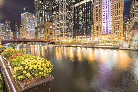 Stunning view of riverside Chicago skylines at blue hour toward Clark Street