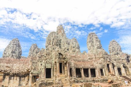 Lookup view of Angkor Wat, a temple complex in Cambodia and is the largest religious monument in the world.