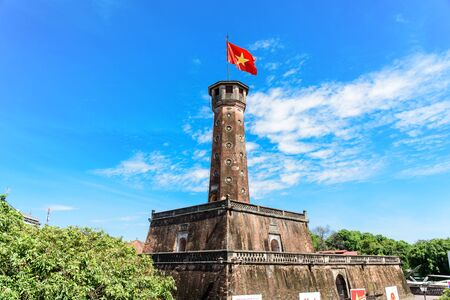 Hanoi flag tower with Vietnamese flag on top. This tower is one of the symbols of the city and part of the Hanoi Citadel Stockfoto