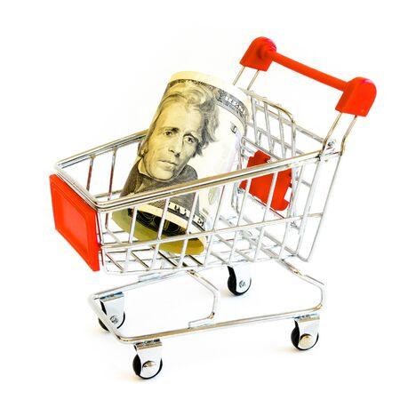 Studio shot twenty-dollar bill (20) banknote and tiny shopping cart isolated on white Reklamní fotografie