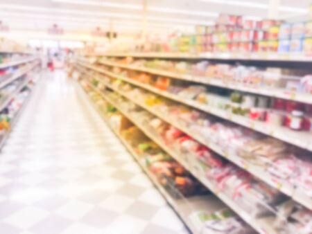 Foto de tonos borrosa de la tienda de comestibles asiática en Houston, Texas, EE. UU. Foto de archivo