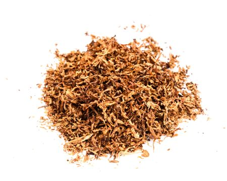 A pile of tobacco isolated on white background. Asian cigarette products. Stock fotó