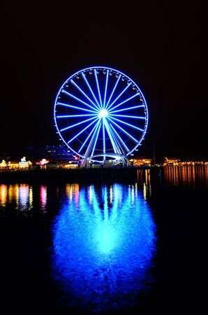 Close-up Seattle Great Wheel is a giant Ferris wheel at Pier 57 on Elliott Bay in Seattle, Washington, USA.