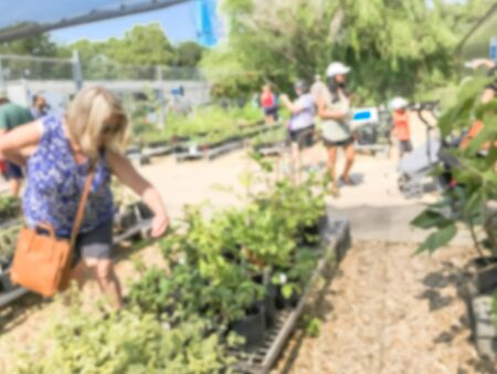 Motion blurred customers shopping for wide varieties of yard plants at plant sale event in Dallas, Texas, America. Garden with green house show and tour