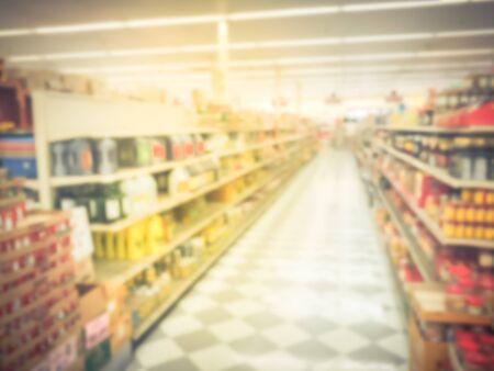 Blurred image of Asian grocery store in Houston, Texas, USA