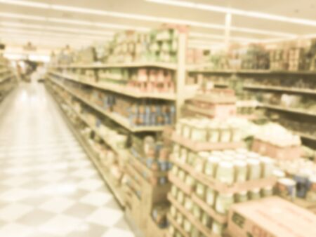 Toned photo of blurred Asian grocery store in Houston, Texas, US. Imagens