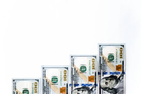 Top view money staircase made from 100 United States Dollar (USD) banknotes, bills isolated on white background. Business growth upward conceptual background