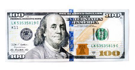 Hundert US-Dollar (USD) Banknoten, Scheine auf weißem Hintergrund Standard-Bild