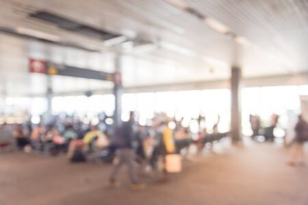 Blurred motion crowded of people waiting at terminal gate in American airport