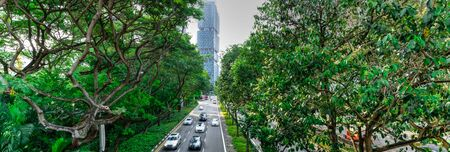 Aerial view street in modern business district Bugis of Singapore