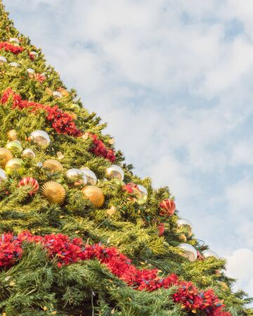 Side view of 60 foot Christmas tree with snowflake top, ornament balls and efficient LED lights. Typical Xmas decoration at upscale shopping center in Texas, America. Low angle view blue cloud sky